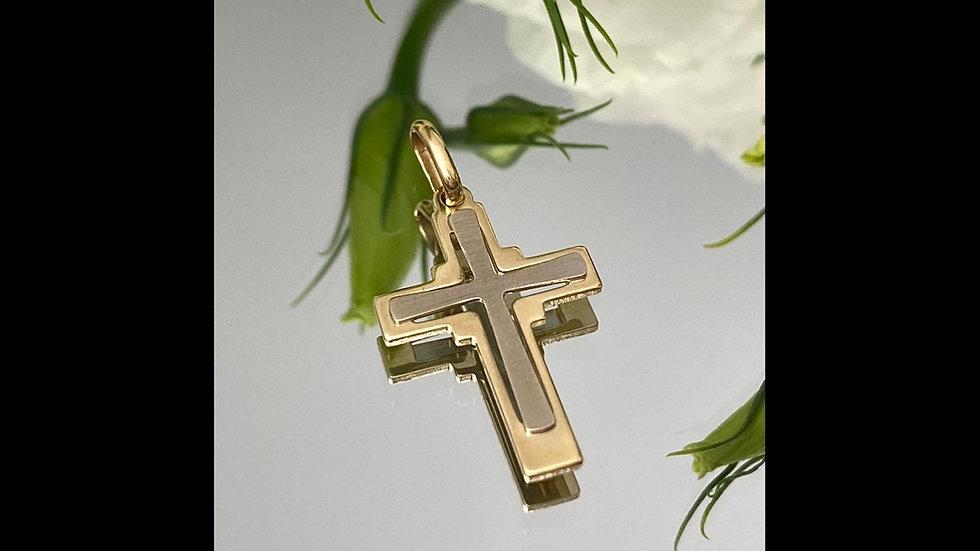 Krzyżyk złoty matowy środek