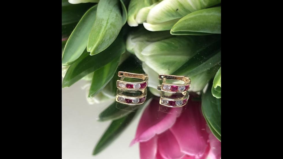 Kolczyki złote różowe cyrkonie