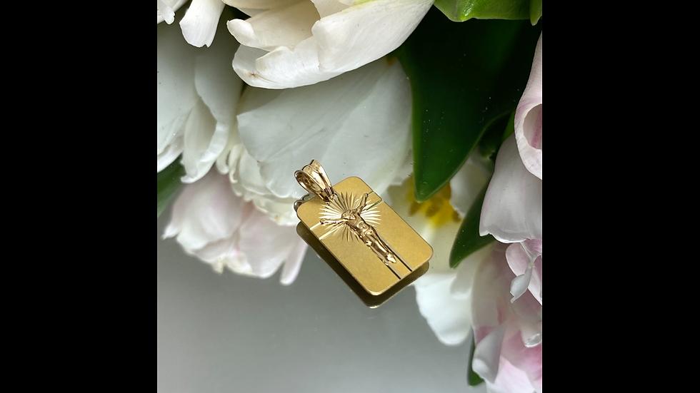 Wisiorek złoty blaszka krzyżyk