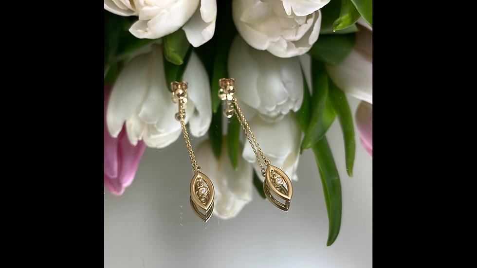 Kolczyki złote wiszące cyrkonia
