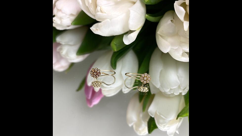 Kolczyki złote kwiatki cyrkonie