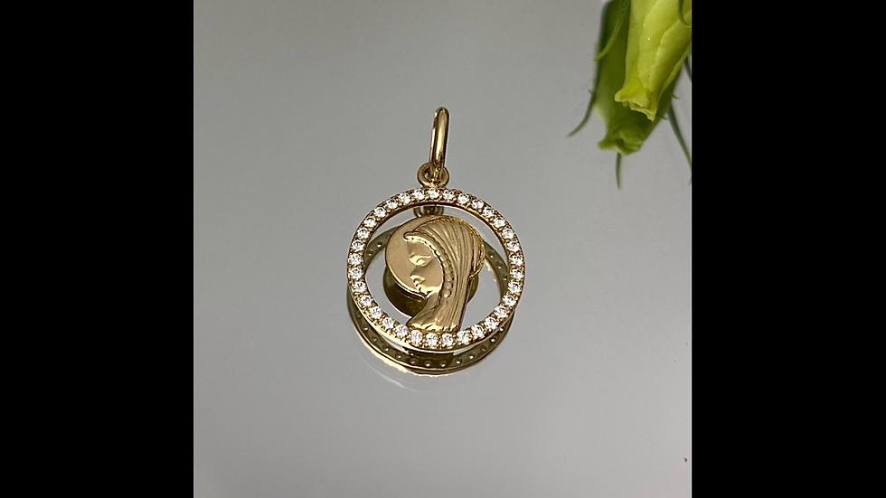 Medalik złoty z cyrkoniami