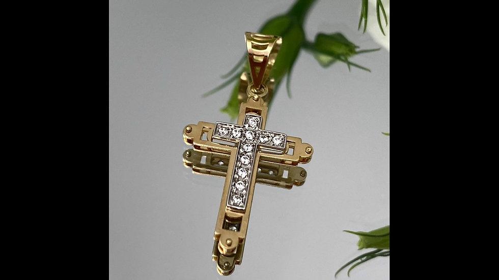 Krzyżyk złoty z cyrkoniami
