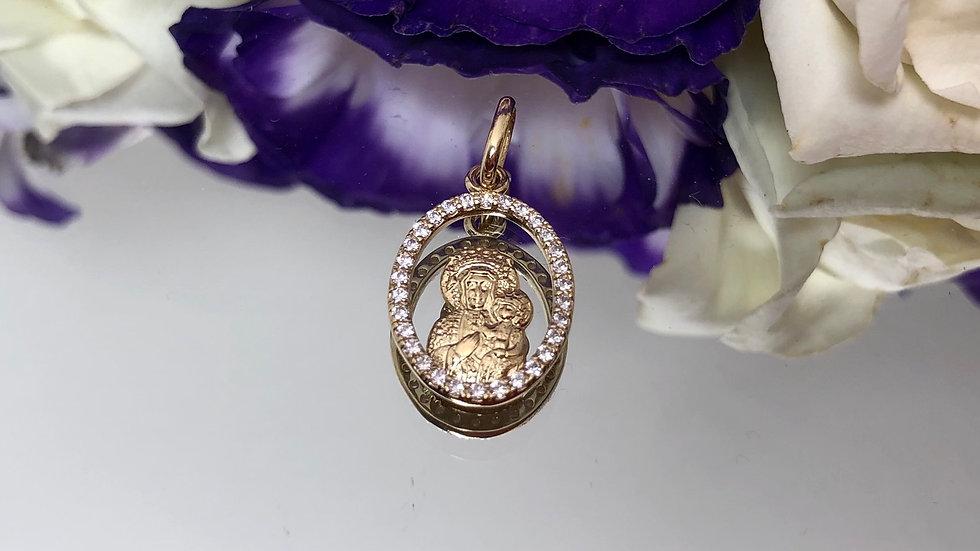 Medalik złoty cyrkonie