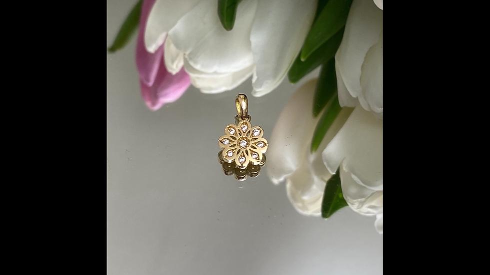 Wisiorek złoty kwiatek cyrkonie