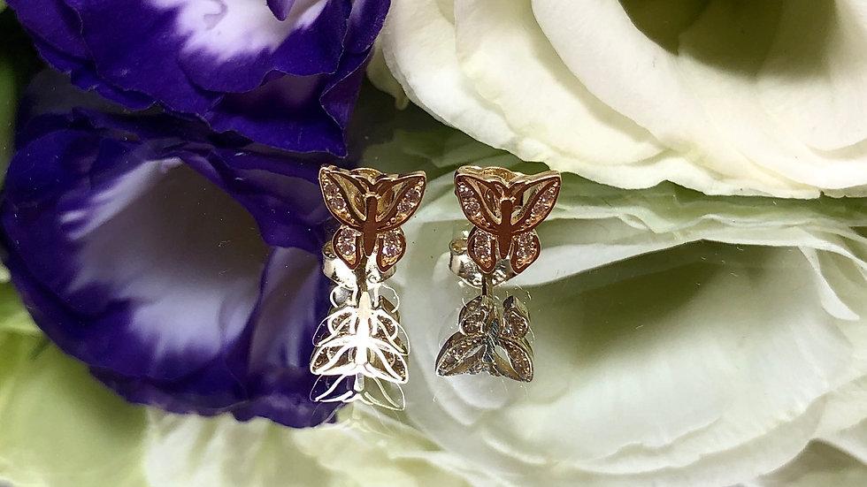 Kolczyki złote motylki cyrkonie