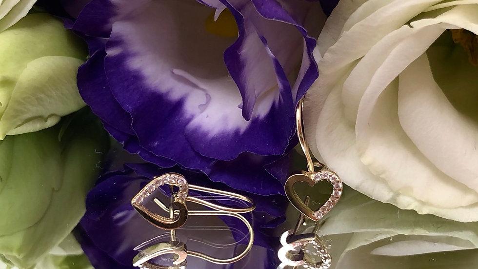 Kolczyki złote serca cyrkonie