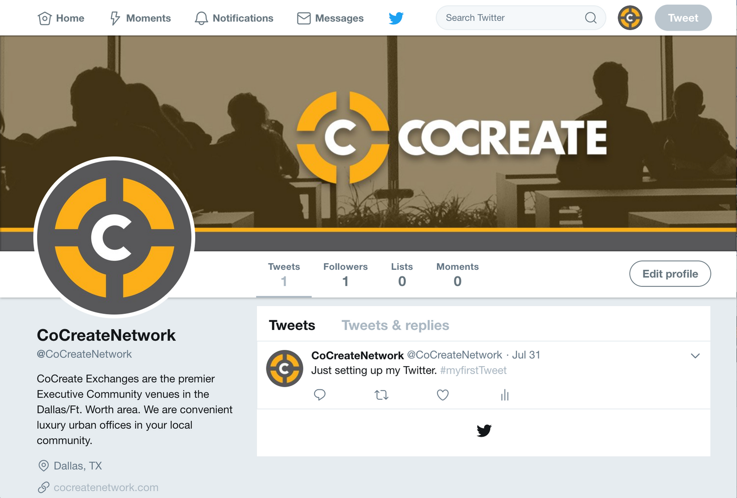 CoCreate Twitter Front Page