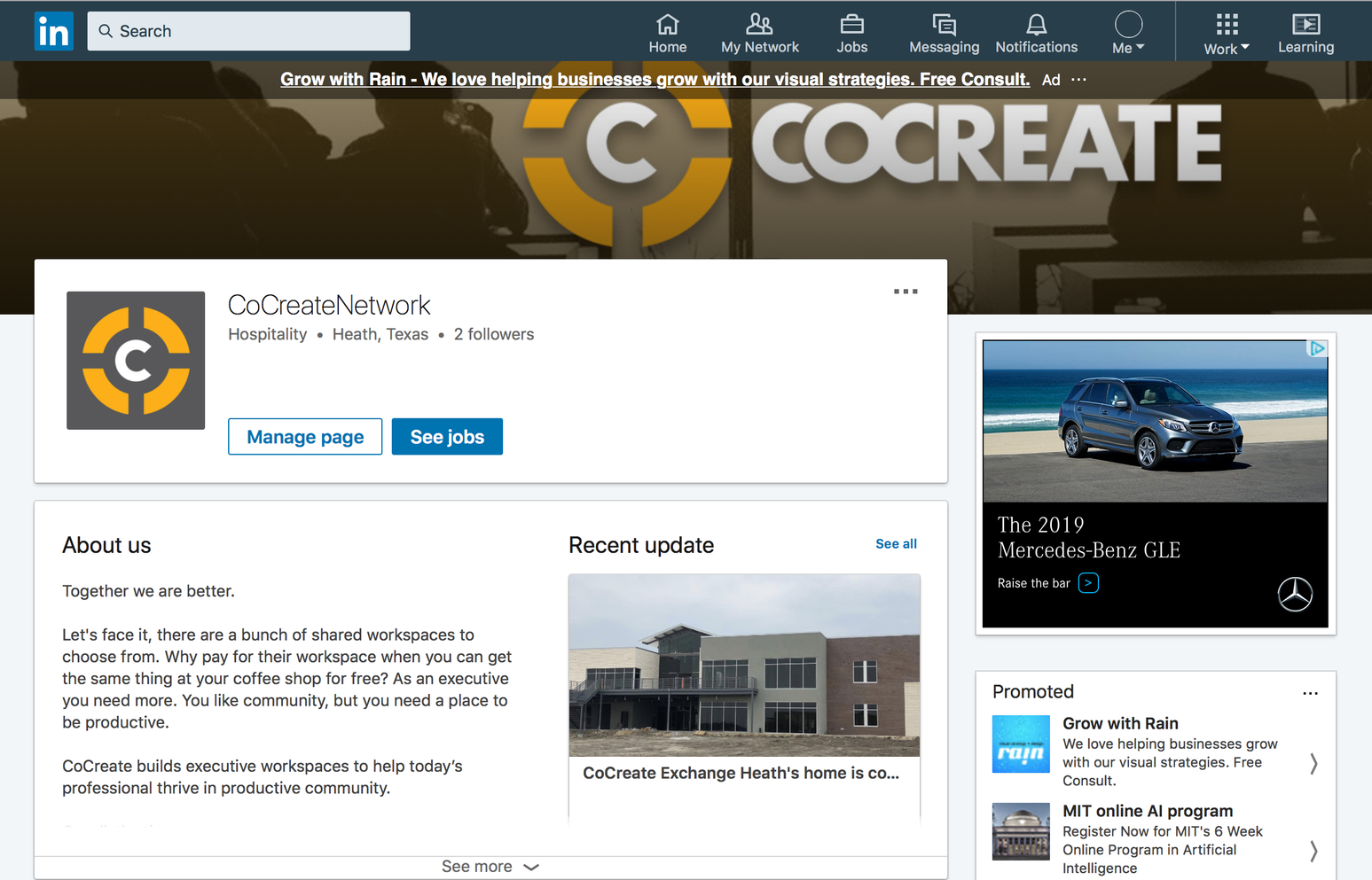 CoCreate Linkedin Front Page