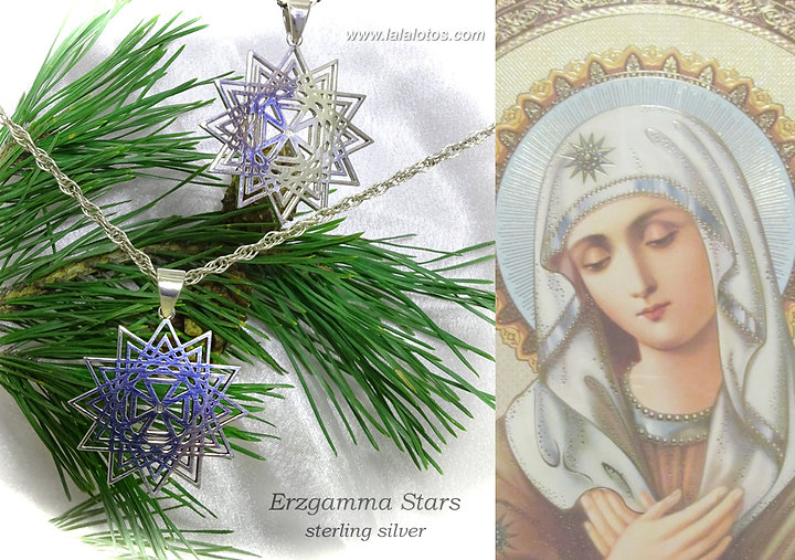 Twelve-pointed stars called Erzgamma. Sterling silver pendants. Lala Lotos original jewelry. Silver, gold and natural gemstones. Spiritual jewelry, bridal rings, family jewels.