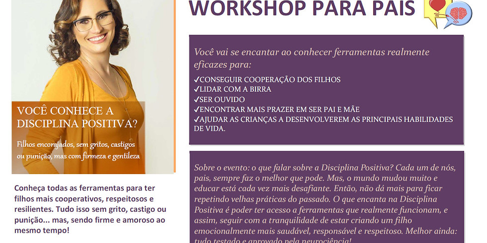 WORKSHOP DISCIPLINA POSITIVA - EVENTO PF - FECHADO AO PÚBLICO