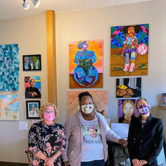 Connecticut Lt. Governor Susan Bysiewicz, Milford Arts Council Director Paige Miglio and Artist Shanna Melton at The Story of Women art exhibit at the Milford Arts Council. Shanna was on exhibit and juror of the exhibition.