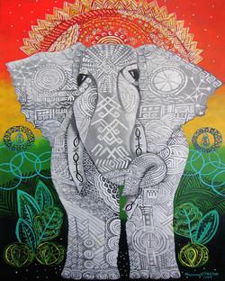 African Textile Study: Elephant