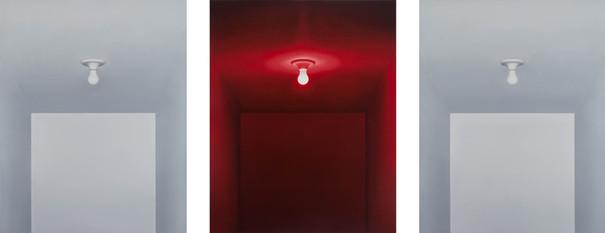Luz Vermelha, 2013 óleo sobre tela. 100 x 80 cm cada   Luz Vermelha [Red Light], 2013 oil on canvas. 100 x 80 cm each.  photo Rafaela Netto