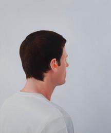 Autorretrato sem Óculos e com Protetores Auditivos, 2015 óleo sobre tela. 60 x 50 cm   Autorretrato sem Óculos e com Protetores Auditivos [Self-portrait without Glasses wearing Ear Plugs], 2015 oil on canvas. 60 x 50 cm  photo Rafaela Netto