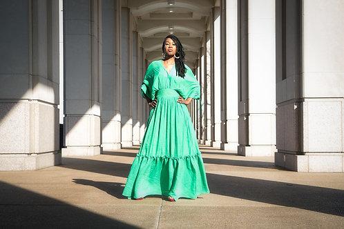Green Sunflower Dress