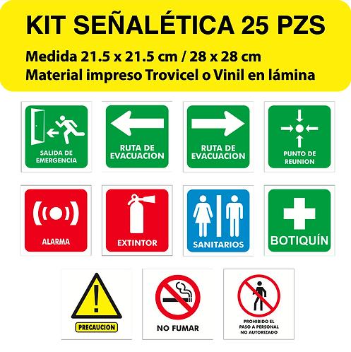 Paquete Señalética Mediano 25 pzs
