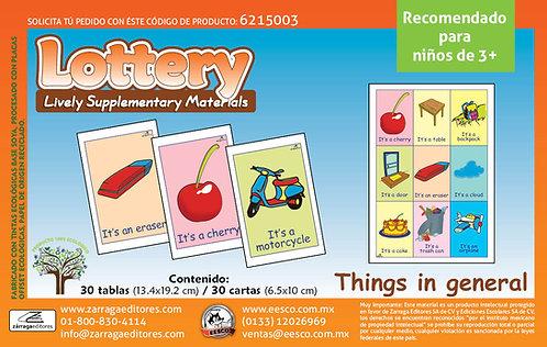 Loteria De Cosas Del Entorno En Ingles para edades 3+