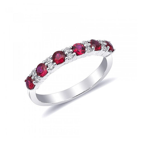 14k White Gold 0.65ct TGW Natural Ruby and White Diamond Wedding Band