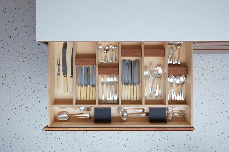 H Miller Bros | Luxury kitchen makers | bespoke handmade cutlery drawer in birch ply and iroko | Liverpool, Manchester, Cheshire, and Wirral