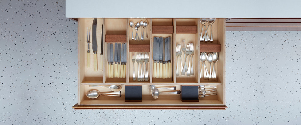 H Miller Bros | Handmade lined cutlery drawer by luxury kitchen makers in Liverpool
