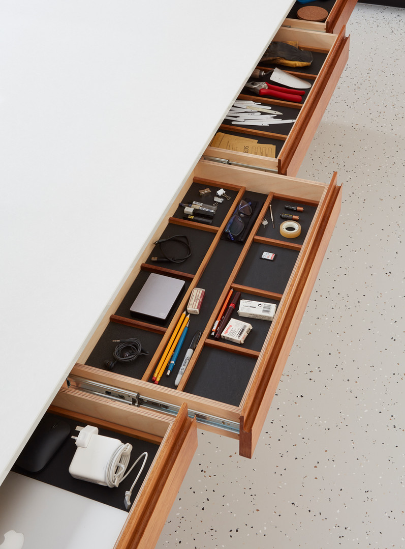 H Miller Bros | Luxury kitchen makers | Handmade stationary drawer with leather lining | Liverpool, Manchester, Cheshire, and Wirral