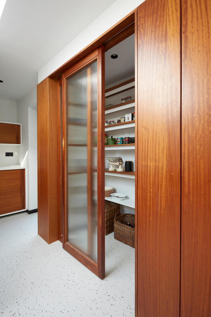 H Miller Bros | Luxury kitchen makers | Luxury pantry and larder with reeded glass | Liverpool, Manchester, Cheshire, and Wirral