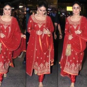 लाल रंग की लिबास में दिखा करीना कपूर खान का खूबसूरत अंदाज़, एयरपोर्ट पर यूं आईं नज़रलाल रंग की लिबास