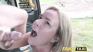 Horny blonde MILF with big natural tits gets big British male pole