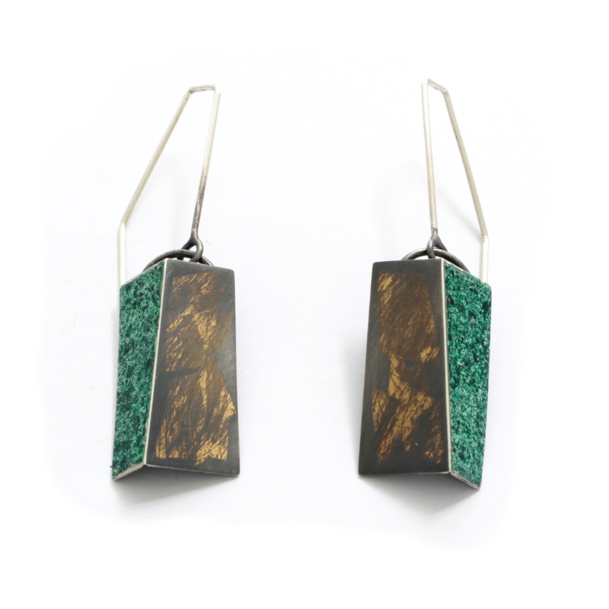 Green + Gold Drop Fold Earrings