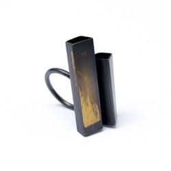 Gold Flash Block Ring