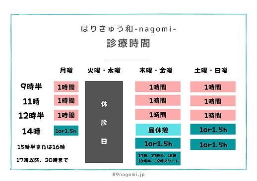 はりきゅう和-nagomi-の診療時間表