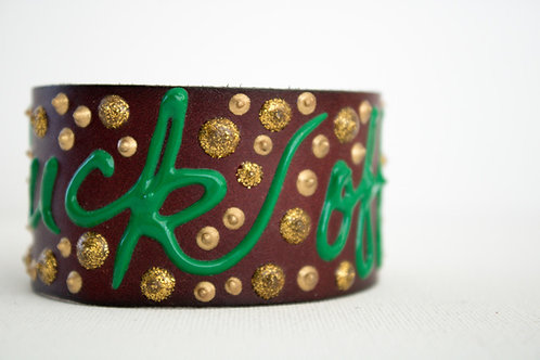 Fuck Off Bracelet - Brown, Gold & Green