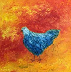 Blue Chicken 24x24 Oil on Canvas