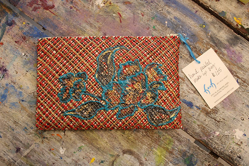Red, Gold, Brown, and Blue Flower Painted Handbag