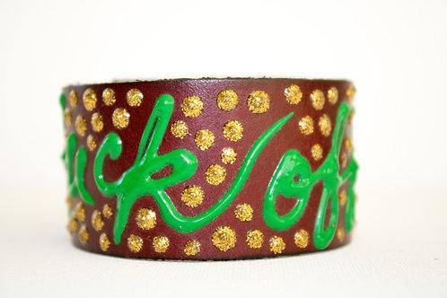 Fuck Off Bracelets - Brown, Gold & Green