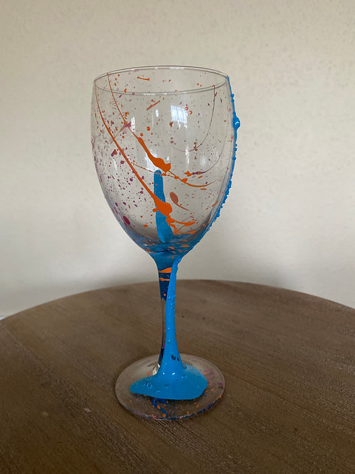 Painted Wine Glass #6