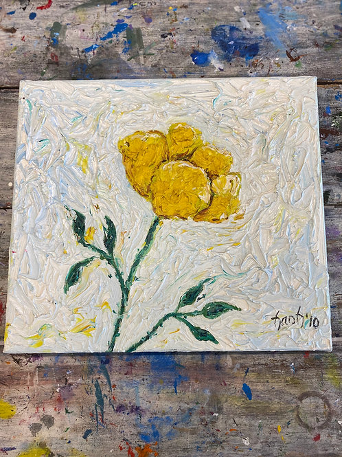 Abstract Yellow Flower Canvas