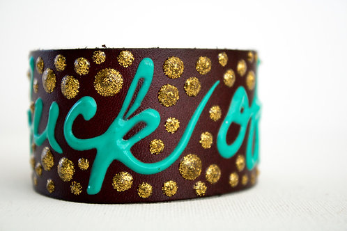 Fuck Off Bracelet - Brown, Gold & Turquoise