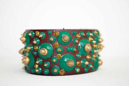 Big Dots Bracelets - Brown, Gold & Green