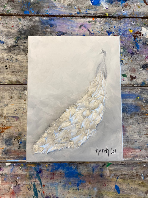 Abstract White Peacock Canvas