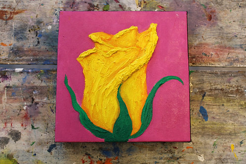 Abstract Closed Rose Canvas