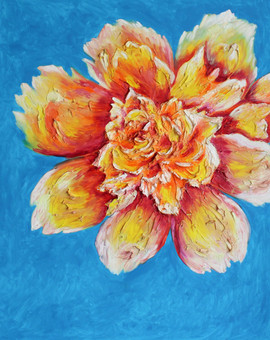 Orange Peony 60x48 Oil on Canvas