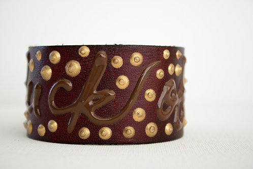 Fuck Off Bracelet - Brown, Brown & Gold