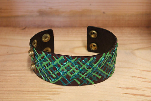 Painted Leather Bracelet #27