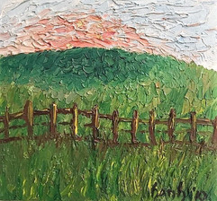 Fences I 11x10 Oil on Canvas