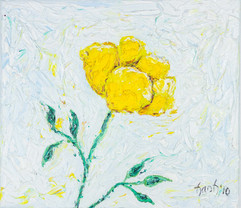Yellow Rose White 15x17 Oil on Canvas