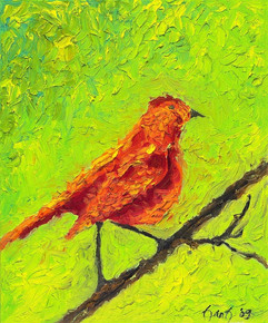 Red Bird  24x20 Oil on Canvas