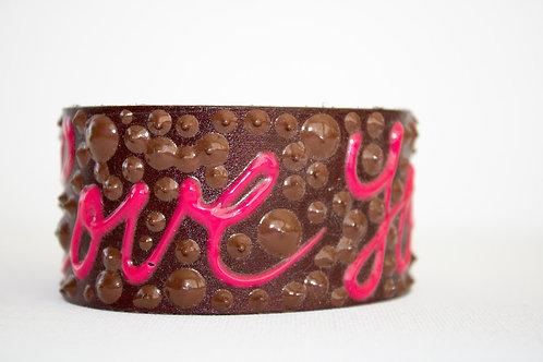 Love You Bracelet - Brown, Brown & Pink