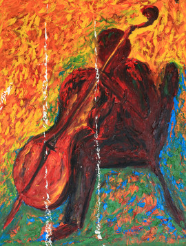 Cellist 48x36 Oil on Canvas